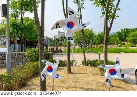 Gimhae, South Korea - June 18, 2017 : South Korea National Flag Folds Into Windmills Decorate In Pub