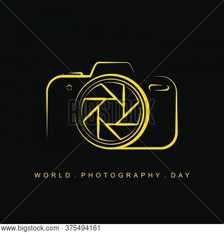 Line Art Of Camera Vector Illustration For World Photography Day Design. Also Good Template For Phot