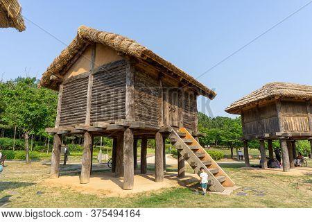 Gimhae, South Korea - June 18, 2017 : Replica Of Traditional Korean Wooden House Of Gaya Kingdom In