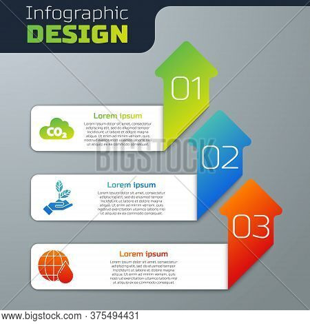 Set Co2 Emissions In Cloud, Plant In Hand And Earth Planet In Water Drop. Business Infographic Templ