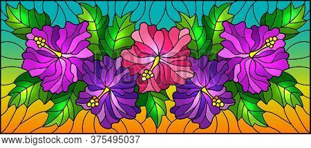 Illustration In Stained Glass Style With Flowers And Leaves  Of Hibiscus On A Blue Background