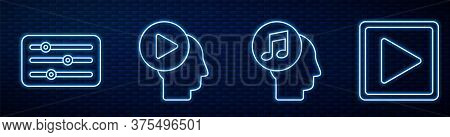 Set Line Musical Note In Human Head, Sound Mixer Controller, Head People With Play Button, Play In S