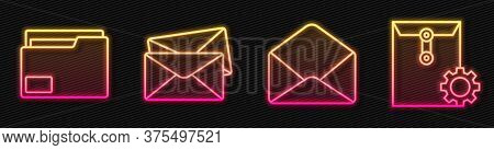 Set Line Envelope, Document Folder, Envelope And Envelope Setting. Glowing Neon Icon. Vector