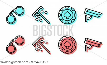 Set Line Casino Chips, Handcuffs, Stick For Chips And Security Camera Icon. Vector