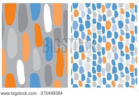 Cute Hand Drawn Abstract Irregular Brush Stripes Vector Patterns. Orange, Gray And Blue Lines On A W