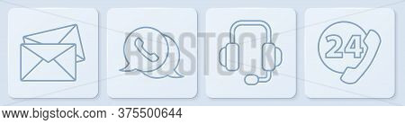 Set Line Envelope, Headphones, Telephone With Speech Bubble Chat And Telephone 24 Hours Support. Whi