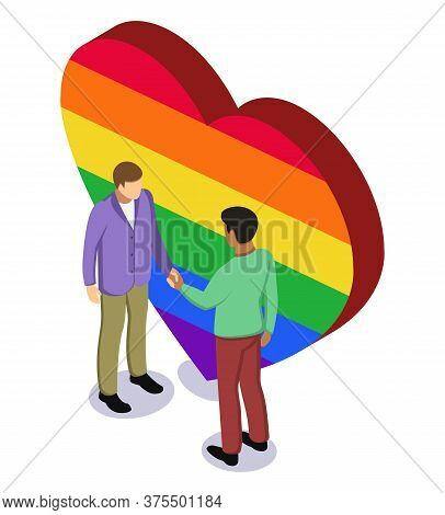 Black Afro And White Caucasian Man Shaking Hands Before Rainbow Heart. Tolerance, Lgbt Rights And No