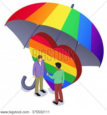 Black Afro And White Caucasian Man Shaking Hands Before Rainbow Heart Under Colourful Umbrella. Tole