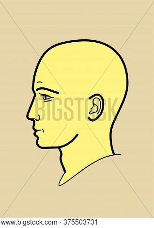 Human Head, Human Emotions - Vector Illustration In A Linear Design Style. Profile, Face Of A Man. S