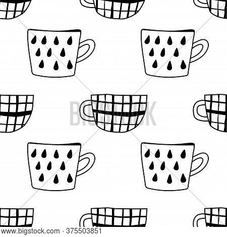 Tea And Coffee Mugs. Seamless Pattern. Black And White Illustration For Coloring Book