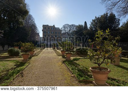 Galleria Borghese Palace And Gardens In Public Park In Rome, Italy