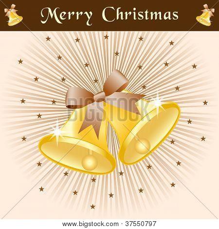 Christmas Bells On Brown Sunburst