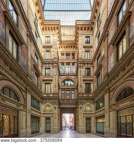 Rome, Italy -10 Mar 2020: Galleria Sciarra Is A Glass Covered Passage From The 1880s Decorated In Li