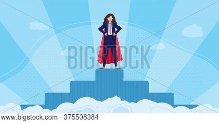 Super Business Woman Character Standing On Pedestal At Background With Glory Rays, Flat Vector Illus