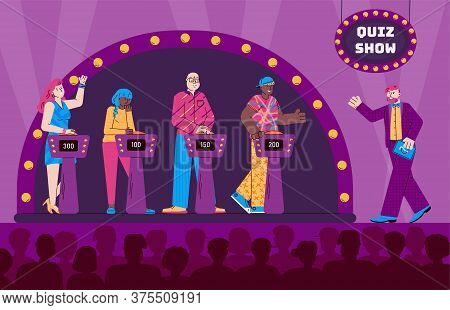 Shooting A Quiz Tv Show With Host Of The Program And Guests Cartoon Characters Vector Illustration.