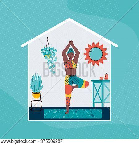 Woman Cartoon Character Practicing Yoga Exercises At Home, Flat Vector Illustration. Womens Home Hea