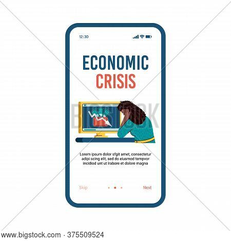 Illustration Of A Bankrupt Woman Who Sits In Despair In Front Of A Monitor. The Economic Crisis And