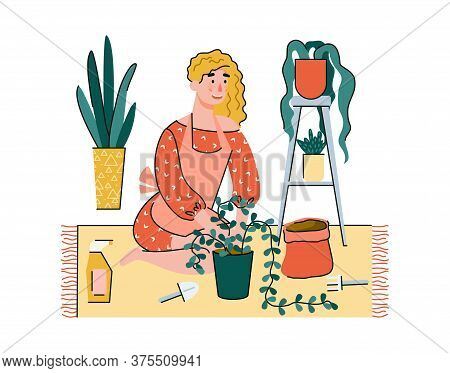 Indoor Planting And Peoples Home Activity Or Recreation Concept A Woman Character Planting House Pla