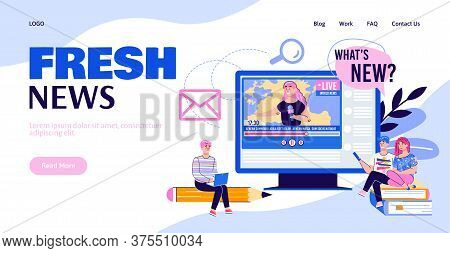 Web Page Interface For News Portal And Information Agency With People Cartoon Characters, Flat Vecto