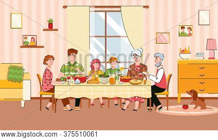 Family Reunion At Festive Meal Scene With Grandparents And Children, Cartoon Vector Illustration. Th