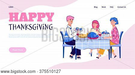 Web Banner Template With Scene Of Family Thanksgiving Joint Festive Dinner With Turkey Dish, Cartoon