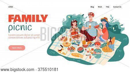 Website Interface Mockup With Scene Of Family Summer Picnic Outdoor, Cartoon Vector Illustration. Fa
