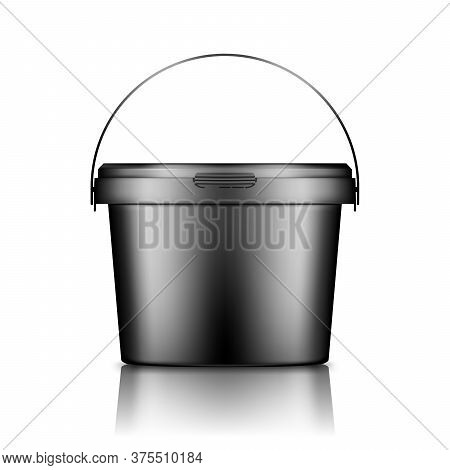 Black Bucket With Handle Mockup Isolated From Background: Ice Cream, Yoghurt, Mayonnaise