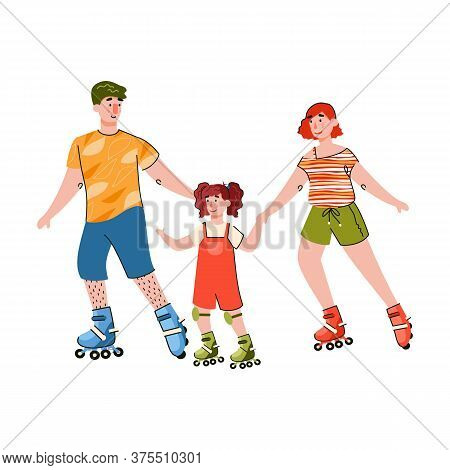 Happy Family Parents And Child Girl Cartoon Characters Skating Rollers, Flat Vector Illustration Iso