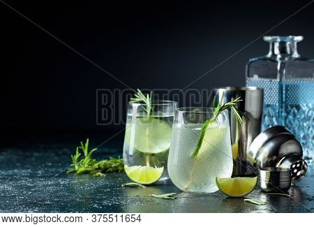 Gin Tonic With Rosemary And Lime In Frosted Glass. Cocktail On A Dark Background. Copy Space.