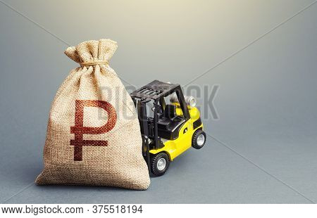 A Forklift Cannot Lift A Russian Ruble Money Bag. Stimulating Economy. Helicopter Money, Subsidies S