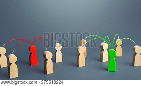Red And Green Persons Compete For Influences On Other People. Luring People To Their Side, Imposing