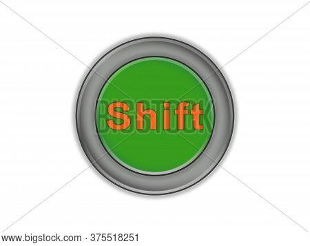 The Inscription Shift In Green Surround Button, White Background