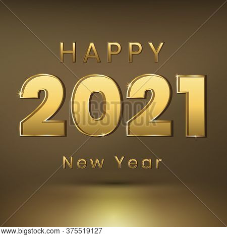 Happy New Year 2021 - New Year Shining Background With Gold Numbers And Glitter. Stars.