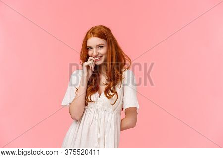 Romance, Relationship And Tenderness Concept. Beautiful Tender Redhead Woman In Cute White Dress, Bl