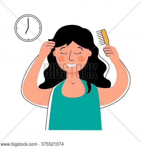 Woman Combing Her Hair With A Comb. Morning Routine.