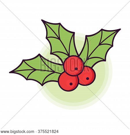 Holly Berry Icon. Christmas Symbol. Red Berries Of Holly With Green Leaves. Vector Illustration