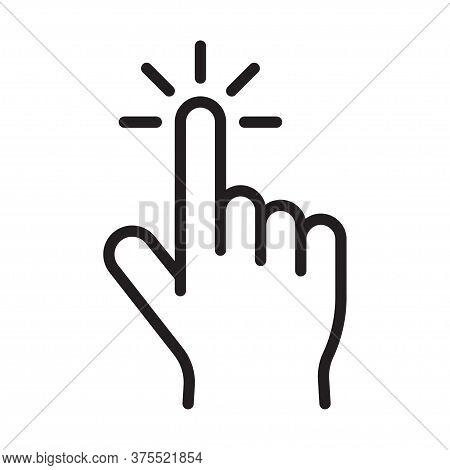 Cursor Pointer. Hand Clicking Icon. Clicking Finger. Vector Illustration.
