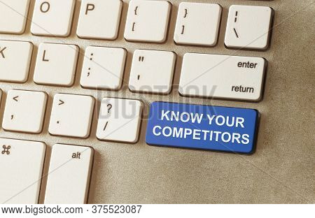 Finger Toutch A Blue Button With Text Know Your Competitors