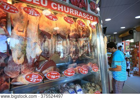 Salvador, Bahia / Brazil - March 20, 2017: Pieces Of Meat Are Seen At Butcher's Refrigerator Counter