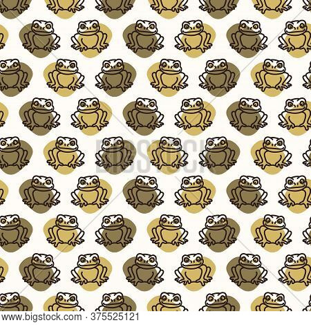 Seamless Background Amphibian Toad Gender Neutral Baby Pattern. Simple Whimsical Minimal Earthy 2 To