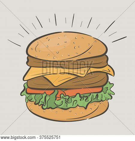 Tall Delicious Burger With Two Cutlets And Cheese