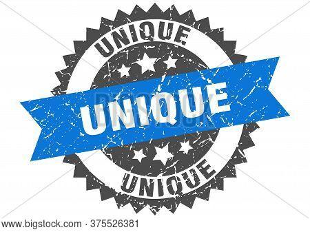 Unique Grunge Stamp With Blue Band. Unique