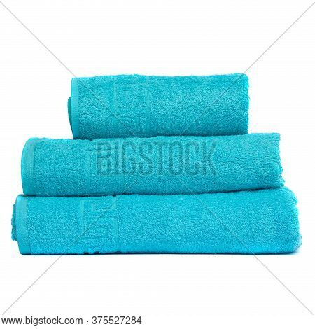 3 Frotte Towels Turquoise Color, Bedroom Towel White Backgroung. Colorful Turquoise Bath Towels Isol