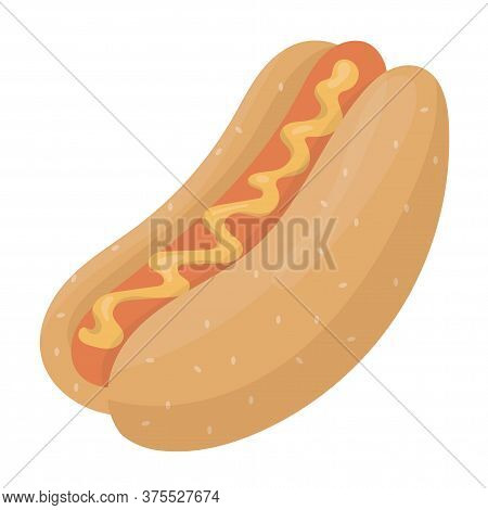 Tall Delicious Hot Dod With Sausage And Mustard