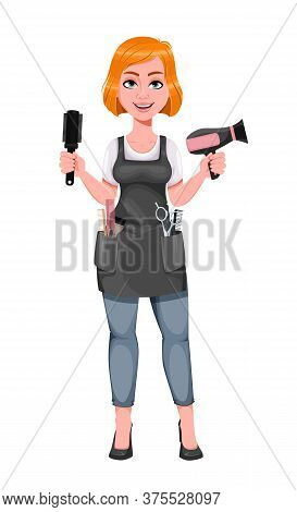 Beautiful Redhead Girl Hairdresser Holds Hair Dryer. Cute Woman Barber. Female Hairstylist Cartoon C
