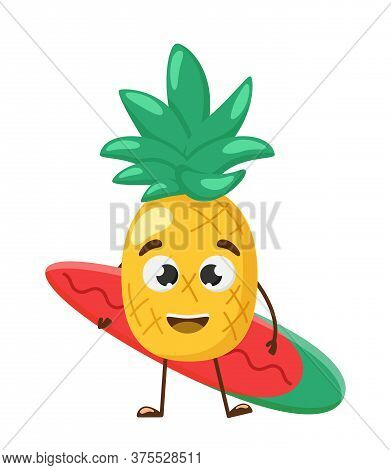 Cute And Funny Pineapple With Surfboard. Vacation Concept. Fruit, Summer, Travel. Pineapple Juice, S