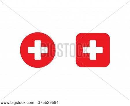 Red Medical Cross In Circle And Square. First Aid Sign. Hospital Emblem. Emergency Button. White Plu