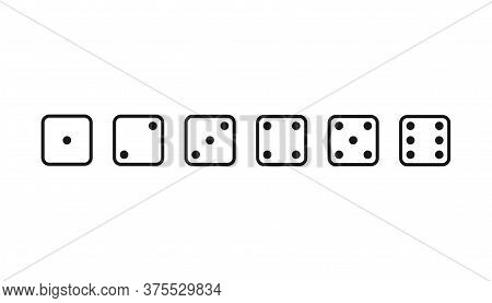 Playing Dice From 1 To 6. Game Die In Flat Design. Gamble Sign From One To Six Dots. Fortune Symbol