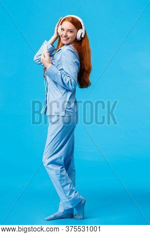 Vertical Full-length Portrait Sassy And Coquettish, Flirty Redhead Woman In Cute Pyjama, Dancing Lis