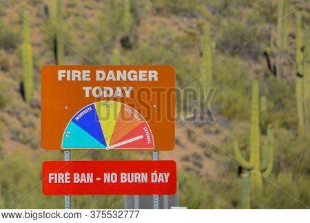 Extreme Fire Danger, Fire Ban At Lake Pleasant Regional Park, Sonoran Desert, Arizona Usa
